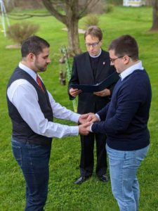 Socially distanced backyard wedding during COVID